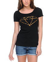Diamond Supply Co Girls Leopard Rock Black Scoop Neck Tee