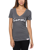 Diamond Supply Co Girls OG Script Dark Grey V-Neck Tee Shirt