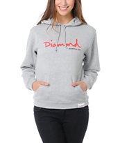 Diamond Supply Co Girls OG Script Heather Grey Pullover Hoodie