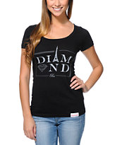 Diamond Supply Co Girls Paris Black Scoop Neck Tee Shirt