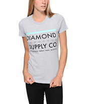 Diamond Supply Co Girls Roots Heather Grey Boyfriend Fit Tee Shirt