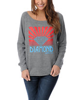 Diamond Supply Co Girls Shining Heather Grey Crew Neck Sweatshirt