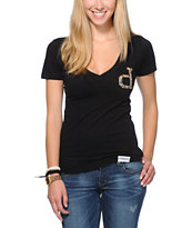 Diamond Supply Co Girls Un-Polo Rain Camo Black V-Neck Tee Shirt