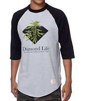 Diamond Supply Co Homegrown Raglan Black & Grey Baseball Shirt