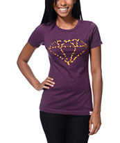 Diamond Supply Co Leopard Rock Logo Plum Boyfriend Fit Tee Shirt