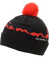 Diamond Supply Co OG Script Black Pom Fold Beanie