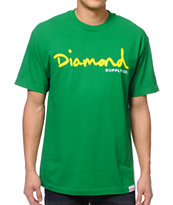 Diamond Supply Co OG Script Green Tee Shirt
