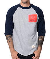 Diamond Supply Co OG Sign Raglan Navy & Grey Baseball Shirt