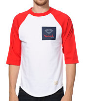 Diamond Supply Co OG Sign White & Red Raglan Baseball Tee Shirt