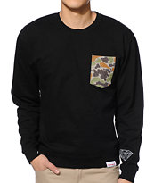 Diamond Supply Co Rainfrog Black Crew Neck Pocket Sweatshirt