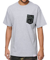 Diamond Supply Co Rainfrog Heather Grey Pocket Tee Shirt