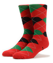 Diamond Supply Co Red, Green, Black High Cut Argyle Socks