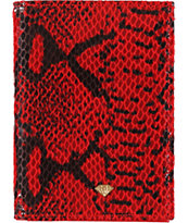 Diamond Supply Co Red & Black Snake Print Bifold Wallet
