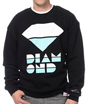 Diamond Supply Co Retro Black & Mint Crew Neck Sweatshirt