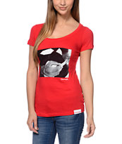 Diamond Supply Co Rollin Diamonds Red Scoop Neck Tee Shirt