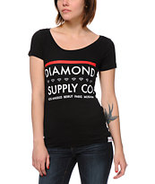 Diamond Supply Co Roots Black Scoop Neck Tee Shirt