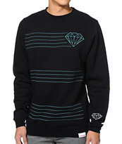 Diamond Supply Co Striped Black Crew Neck Sweatshirt