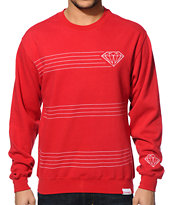 Diamond Supply Co Striped Red Crew Neck Sweatshirt