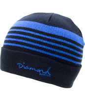 Diamond Supply Co Stripes Navy & Royal Blue Fold Beanie