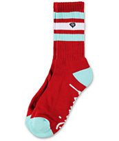 Diamond Supply Co Three Stripe High Red & Diamond Blue Crew Socks