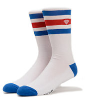 Diamond Supply Co Three Stripe High White & Blue Crew Socks