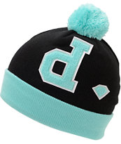 Diamond Supply Co Un-Polo Diamond Blue & Black Pom Fold Beanie