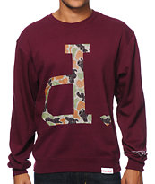 Diamond Supply Co Un Polo Rain Camo Burgundy Crew Neck Sweatshirt