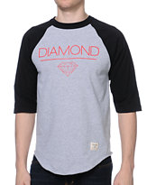 Diamond Supply Co Whitespace Black & Heather Grey Baseball Tee Shirt