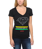 Diamond Supply Co Women's 15 Years Of Brilliance Black V-Neck Tee Shirt