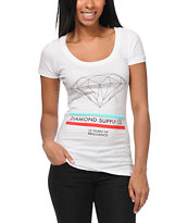 Diamond Supply Co Women's 15 Years Of Brilliance White Scoop Neck Tee Shirt