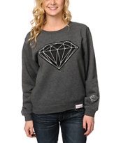 Diamond Supply Co Women's Big Brilliant Charcoal Crew Neck Sweatshirt