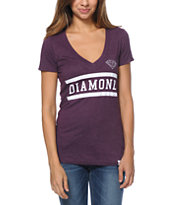 Diamond Supply Co Women's Collegiate Plum V-Neck Tee Shirt