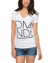 Diamond Supply Co Women's DMND White V-Neck Tee Shirt