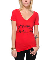 Diamond Supply Co Women's Diamond Cities Red V-Neck Tee Shirt