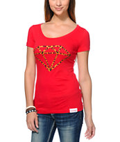 Diamond Supply Co Women's Leopard Rock Logo Red Scoop Neck Tee Shirt