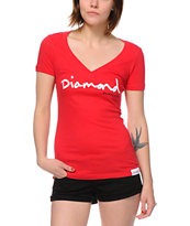 Diamond Supply Co Women's OG Script Red V-Neck Tee Shirt
