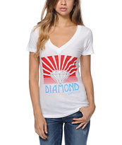 Diamond Supply Co Women's Shinning White V-Neck Tee Shirt