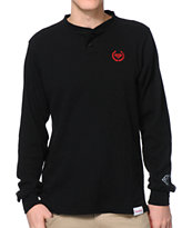 Diamond Supply Co Wreath Black Long Sleeve Thermal Henley Shirt
