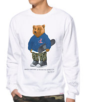 Diamond Supply Co x Grizzly Grip Tape Bear White Crew Neck Sweatshirt