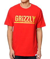 Diamond Supply Co x Grizzly Grip Tape Metallic Stamp Red Tee Shirt