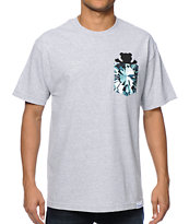 Diamond Supply Co x Grizzly Simplicity Bear Grey Pocket Tee Shirt