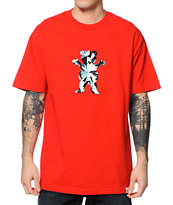Diamond Supply Co x Grizzly Simplicity Bear Red Tee Shirt