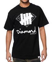 Diamond Supply Co x Undefeated Logo Overlay Black Tee Shirt