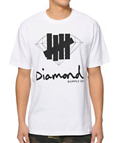 Diamond Supply Co x Undefeated Logo Overlay White Tee Shirt