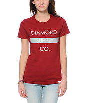 Diamond Supply Co. Bar Logo Dark Red Tee Shirt