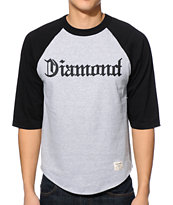 Diamond Supply Co. Compton Black & Heather Grey Baseball Tee Shirt