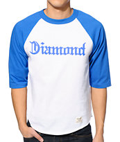 Diamond Supply Co. Compton White & Royal Blue Baseball Tee Shirt