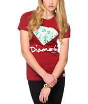 Diamond Supply Co. Floral Diamond Maroon Tee Shirt