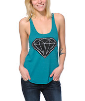 Diamond Supply Co. Girls Big Brilliant Teal Racerback Tank Top