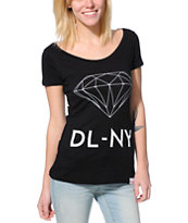 Diamond Supply Co. Girls DL-NY Black Scoop Neck Tee Shirt